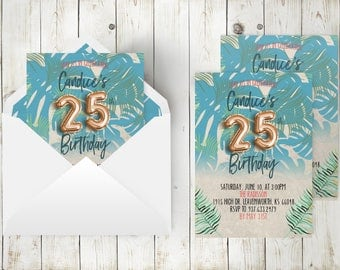 Tropical Birthday Invitation | Baby Tropical Party, Hawaiian Invitation, Botanical Leaf Party, Gold Foil Balloon, Botanical Birthday, Summer