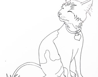 Custom Cat Drawing - Line Art - Cat Outline - Pet Portait - Black and White Drawing