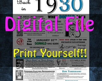 1930 Personalized Birthday Poster, 1930 History - DIGITAL FILE!!