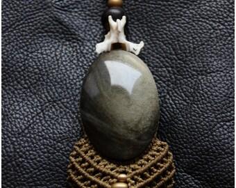 Gold Obsidienne Bones and Bronze - Unique Piece - Boho - Gypsy - Ethnic - Tribal - Steampunk - Festivals -
