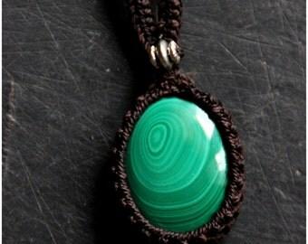 Malachite Necklace - Boho - Gypsy - Original - Gems - Tribal - Ethnic - Design - Gypsy- Macrame - Gems - Stone - Festival