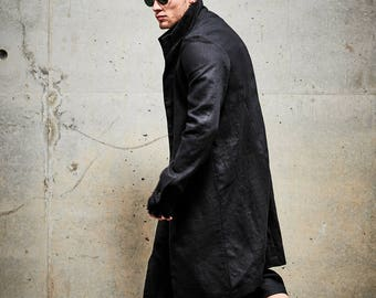Men's Linen Trench Coat / Black Linen Coat / Mens Long Trench Coat / Extravagant Mens Clothing / Tailored Mens Coat by POWHA