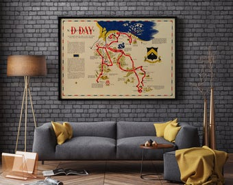 Map of D-day Normandy| World War ii Map| Historic Reproduction Map| WWii Map| Tank Battalion| Map of Europe during World War 2| AMC036