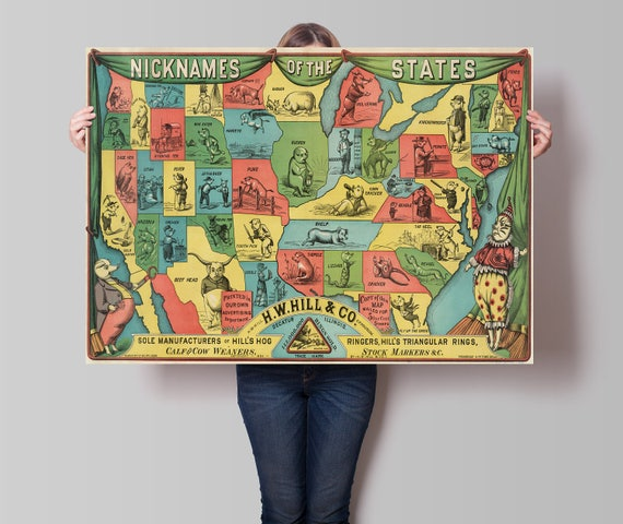 Old United States Map Nicknames Of States Cartoon Map US - Cartoon map of the us