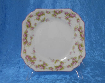 Vintage Shelley Bone China Tea Plate with Pink and Green Floral Design 1940's