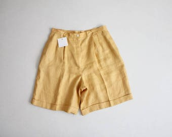 irish linen shorts   flax yellow shorts   high waist linen shorts