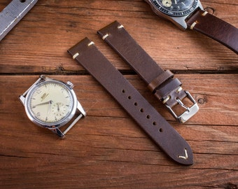 Vintage style dark brown leather strap for watches ( 18mm ), watch band, watch strap, leather band, wrist band, two stitch watch strap