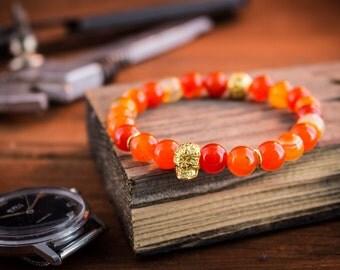 8mm - Orange agate beaded stretchy bracelet with gold skull, made to order yoga bracelet, orange bracelet, mens bracelet