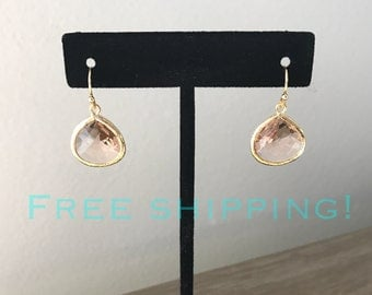SHIPS FREE, Bridesmaid gift, Peach and gold earring, bridesmaid earring, bridesmaid jewelry