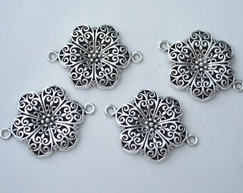 2 Pcs Large Flower Connector Charms Antique Silver Tone 40x30mm - YD1382