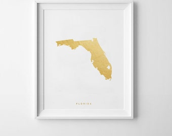 Florida Gold Map Print   US State Poster,State Map Print, Printable map, Map poster, Gold Map Printable, Gold Map Poster, United states map