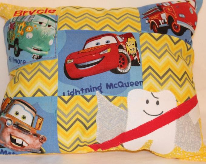 Cars Tooth Fairy Pillow, Lightening McQueen Tooth fairy pillow, Fillmore Tooth fairy pillow, boy tooth fairy pillow, boys yellow pillow