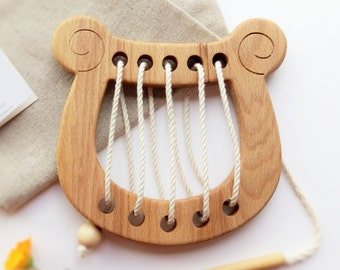 Wooden lacing toy Lyre Fine Motor Skills Learning toy Educational toys Wooden Montessori toy Wood Toys for Kids