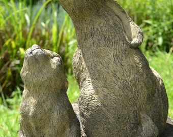 Mother and Baby Moon Gazing Hare stone garden ornaments