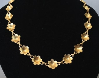Gold Tone Flower Garland Necklace