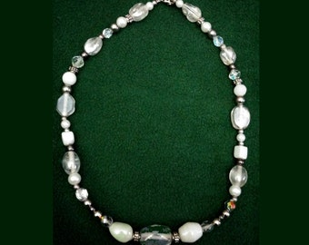 WINTER WHITE Beaded NECKLACE, Glittering, Beautiful Silver-tone
