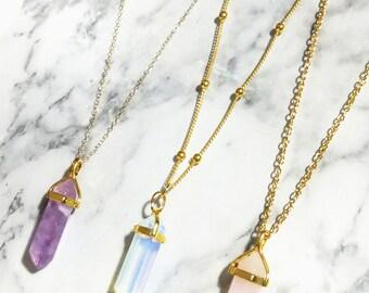 Bullet Necklace, Quartz Necklace, Crystal Necklace, Gemstone Necklace, Delicate Necklace, Opal Necklace, Rose Quartz Necklace, Quartz Bullet