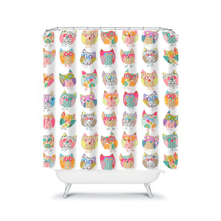 Shabby Chic Shower Curtain Owls Shower Curtain Owl Shower