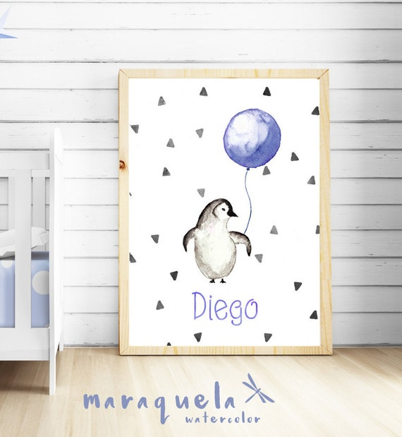 Little PENGUIN Watercolor,BLUE nursery,decoration,custom name.Personalized Baby print.Child wall decor,children,baby shower boys,kids room