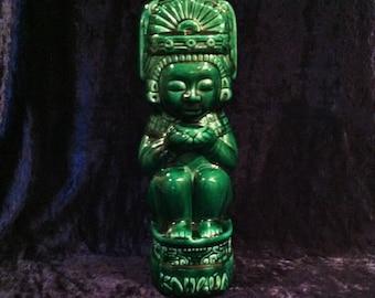 Antique 1937 Kahlua Jade Mexican God Ceramic Bottle