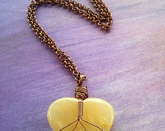 Wirewrapped Heart necklace, boho heart necklace, crystal heart necklace, love necklace