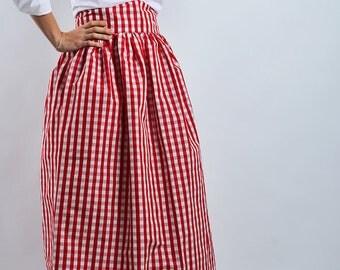 Long vichy skirt high waist