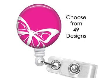 Butterfly Badge Reel, ID Badge Holder clip, Medical Badge Reel, Butterflies Badge Reel, Flower Badge Reel, Mom Rainbow badge reel clip