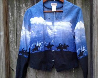 "90's Horse Riding Top/Riding Cowboy/Thunderstorm/Vintage Wrangler/Cowboy Scene/Rancher Shirt/Horse Shirt/Size M/20""Long/18""Chest/24""Sleeve"