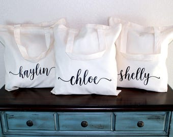 Bridesmaid Tote Set of 8 - Bridesmaid Bag - Bridesmaid Gift Bag - Bridesmaid Box - Bridal Party Bag - Wedding Tote - Personalized Tote Bag