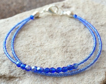 Blue double or single strand seed bead bracelet, blue seed bead bracelet, Czech glass bead bracelet, boho bracelet, small bracelet