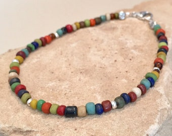 Multicolored seed bead anklet/ankle bracelet, seed bead anklet,  Hill Tribe silver anket, colorful anklet, gift for her, boho anklet