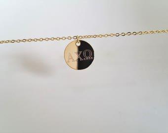 Sorority Disc Necklace - Greek Letter, Gold Disc Necklace, Sorority Gift, Sister Necklace, Sorority Jewelry, Custom Sorority Alphabets
