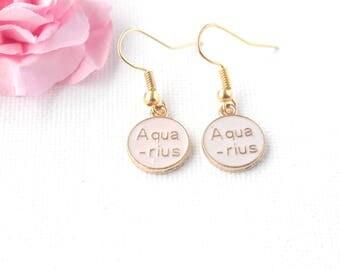 aquarius earrings,aquarius jewellery,aquarius birthday, aquarius gift, zodiac earrings, constellation earrings, gold earrings,