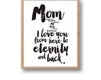 Mothers Day Gift Print I love you from here to eternity Mom gift Instant Download Mom gifts Typography print Black White Wall Art Home Decor