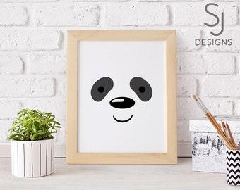 Printable art, Panda Bear print, Cute Panda print, Nursery decor, Nursery art print, Panda Bear wall art, Kid
