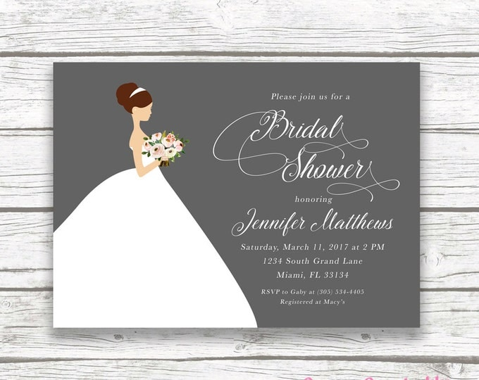 Bride Wedding Dress Bridal Shower Invitation, Gray Pink Floral Bridal Bouquet Invite, Classic Elegant Printed Printable Invitation