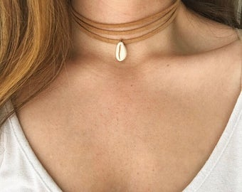 Strappy suede cowrie shell choker