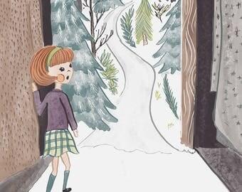 Through the Wardrobe - Giclee Print // Children's Art, Fairytale Print, Narnia Wall Art, Fantasy, Wall Art, Children's Room,  Nursery Gift