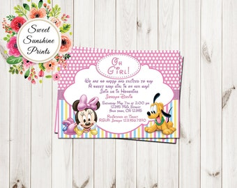minnie mouse baby shower invites  etsy, Baby shower