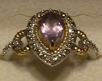 Stunning  Sterling Silver GoldToned and Silver Toned Ring size 7.25 Light Purple Stone