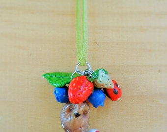 polymer clay owl in tea cup and berries charms