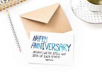 Funny Anniversary Card - Hooray We're Not Sick Of Each Other - Anniversary Card Boyfriend, Husband, Wife