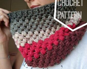 Striped Puff Stitch Cowl Pattern, Caron Cakes Yarn Pattern, Crochet Caron Cakes Pattern, Puff Stitch Scarf Crochet Pattern, Fun Crochet Cowl