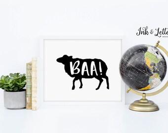 Sheep Printable - Baa Print - Animal Print - Animal Sounds - Animal Nursery - Playroom Decor - Black and White - Instant Download - 8x10