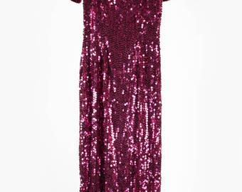 Vintage maroon sequin long dress