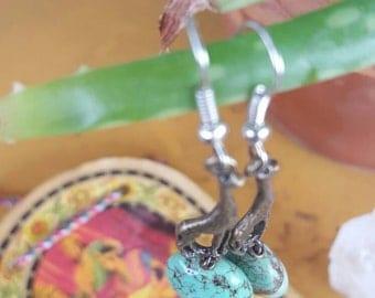 Billie: patina giraffe with semi-precious turquiose  stone, and Ghana beads, earrings