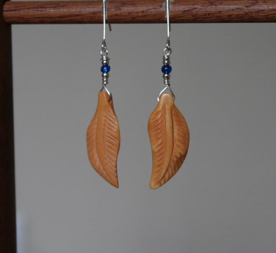 Silver Bone Feather Earrings