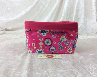Oriental Fabric basket short reversible organiser bin storage sewing. Handmade in England