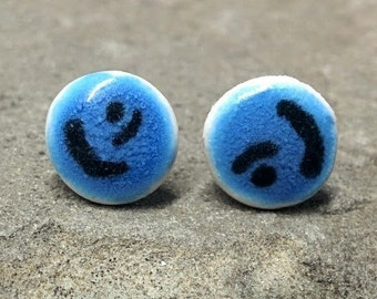 9mm Black Symbol Blue Porcelain Ear Studs - Large Porcelaine Earrings - Blue Porcelain Studs - Handmade Earring Studs - 1cm Ear Stud