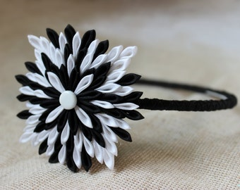 Black headband White headbands for women Kanzashi Adult headband Birthday gift|for|her Teen gift ideas Geometric print Black white accessory